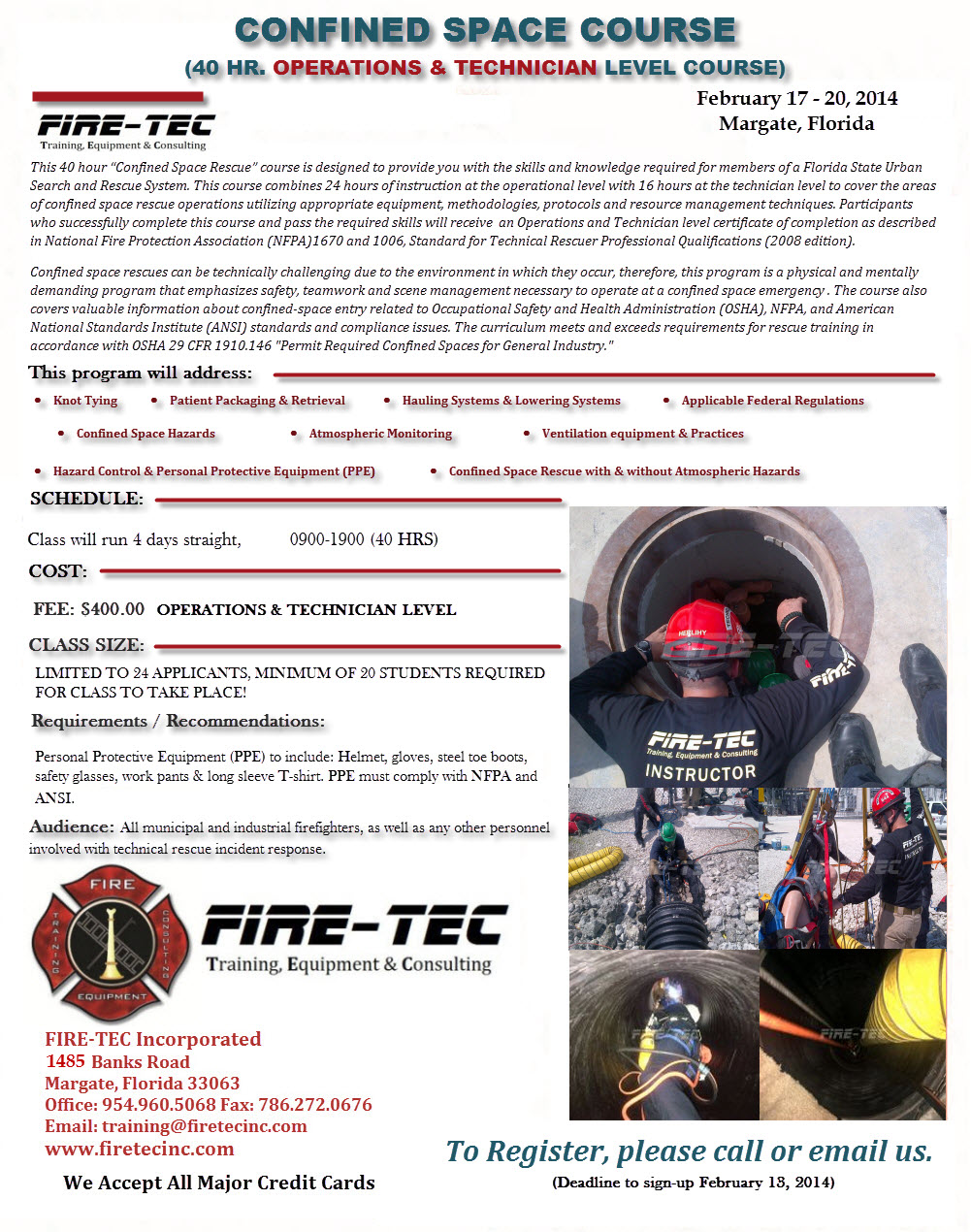 CONFINED SPACE RESCUE – Fire Tec Inc